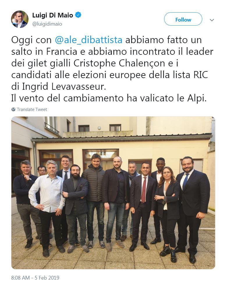 توییت جنجالی معاون نخستوزیر ایتالیا
