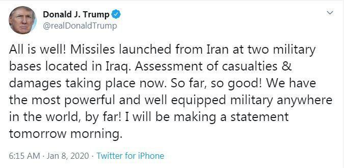 توئیت ترامپ در واکنش به حمله موشکی ایران