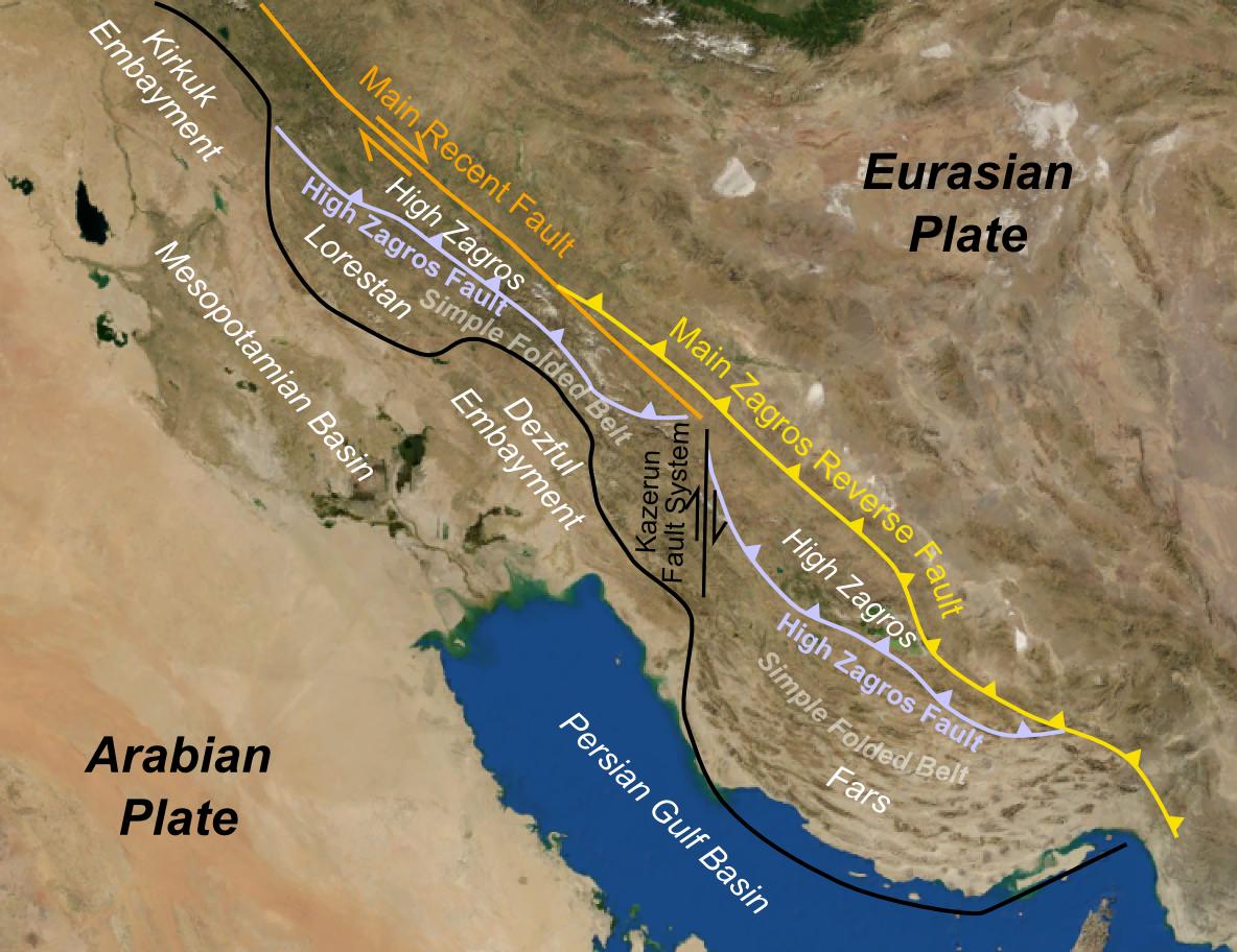 گسل زاگرس بزرگترین گسل ایران در امتداد گسلهای نرمال
