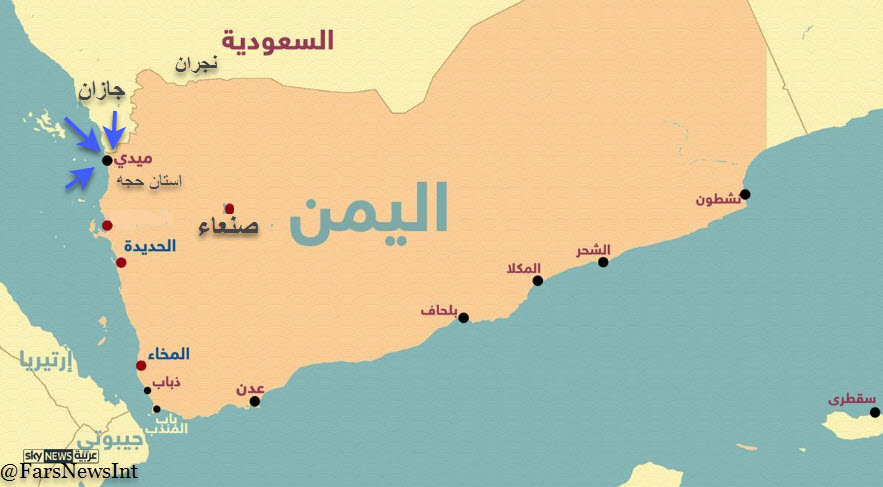 موقعیت میدی در شمال غرب یمن