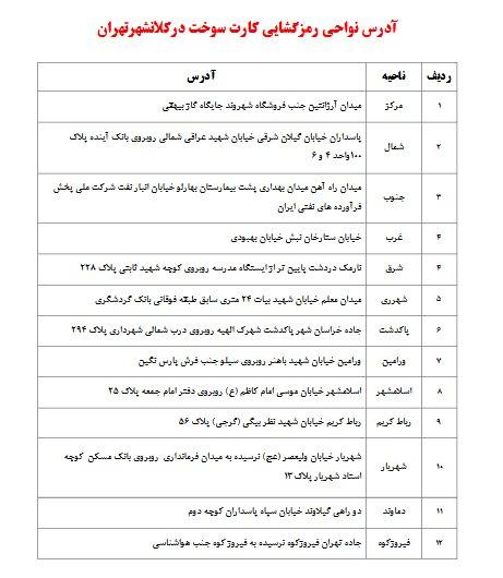 آدرس مراکز رمزگشایی کارت سوخت در کلانشهر تهران