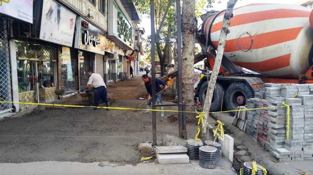 عملیات نوسازی و بهسازی پیاده روی خیابان بیستون رشت
