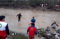 پیکر یکی از سرنشینان خودروی پراید سقوط کرده در رودخانه روبار جیر فومن پیدا شد