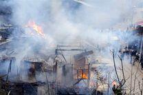 آتشسوزی در امامزاده ابراهیم شفت/چند مغازه و منزل تخریب شد + تصاویر