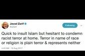 ظریف: تروریسم به نام نژاد یا مذهب، تروریسم است و نماینده هیچیک نیست