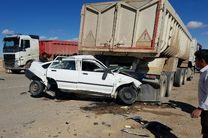 ۱۱ مصدوم در پی تصادف کامیون با دو خودروی پراید