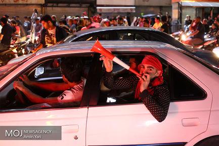 شادی هواداران تیم فوتبال پرسپولیس در خیابان های تهران