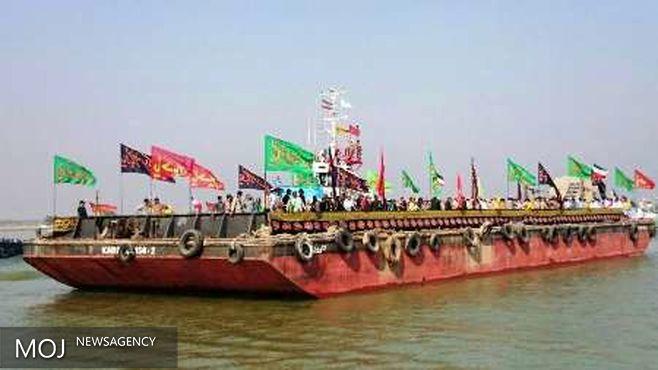 پیکرهای مطهر ۶۶ شهید گمنام دفاع مقدس از مرز دریایی آبادان وارد کشور شدند