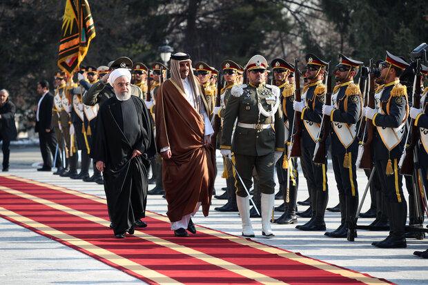 رئیس جمهور به صورت رسمی از امیر قطر استقبال کرد