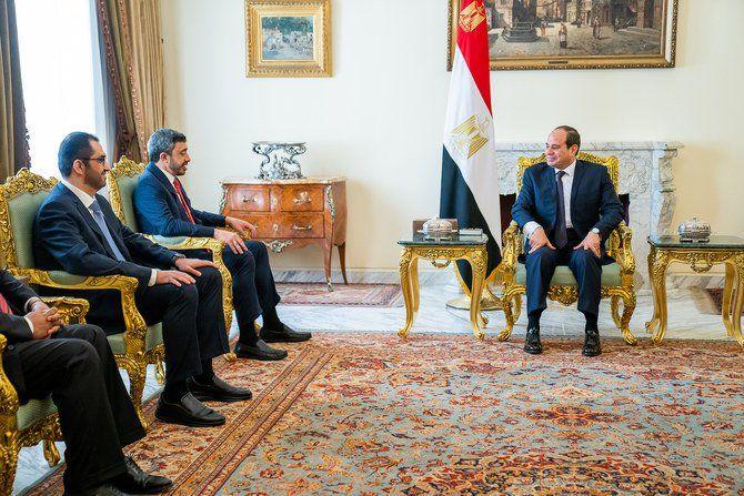 وزیر خارجه امارات با رئیس جمهور مصر دیدار کرد