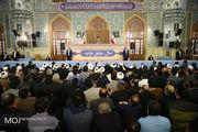 حضور مقام معظم رهبری در اجتماع عظیم زائران حرم مطهر رضوی (ع)