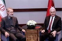 نخست وزیر ترکیه و رئیس مجلس ایران با هم دیدار و گفتگو کردند