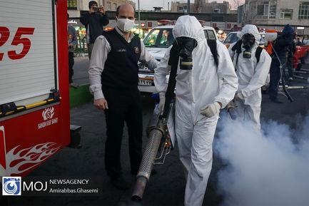 عملیات ضد عفونی معابر شهری در تهران