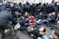 درگیری شدید پلیس اوکراین با معترضان
