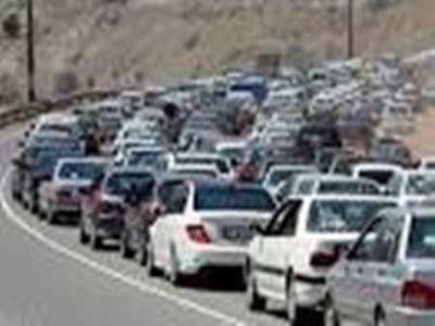 ترافیک سنگین در جاده کرج- چالوس