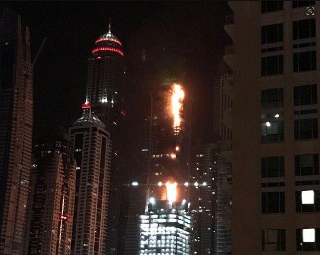آتش سوزی در برج تورچ دبی
