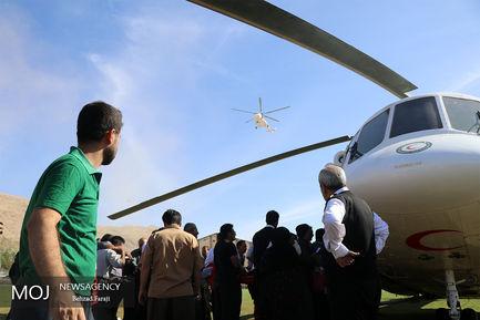 انتقال هوایی و زمینی مصدومان «سرپل ذهاب» به بیمارستان