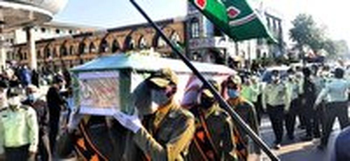پیکر نخستین شهید پلیس فتا ناجا در قائم شهر تشییع شد