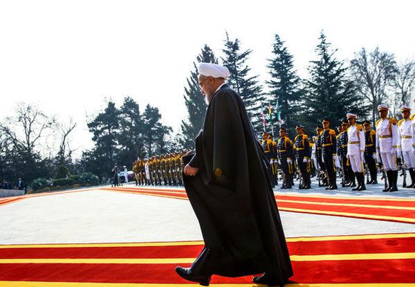 استقبال رسمی حسن روحانی از برهم صالح در کاخ سعدآباد