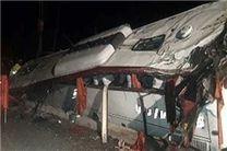 واژگونی اتوبوس«ولوو» در محور زاهدان – بم به دلیل سرعت غیرمجاز