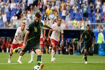 نتیجه بازی دانمارک استرالیا در جام جهانی/ بازی با تساوی 1-1 پایان یافت