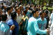 تجمع کارگران فضای سبز یزد مقابل شهرداری