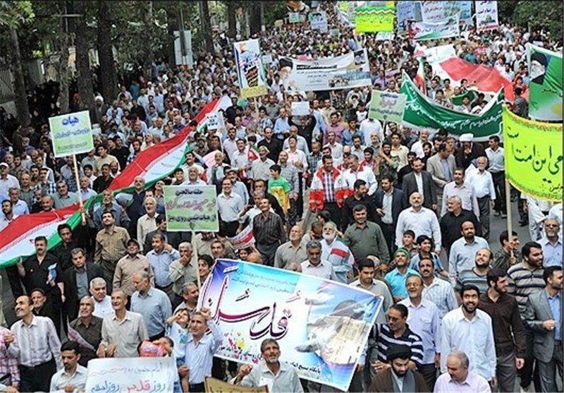 آغاز راهپیمایی روز قدس در کرمانشاه با حضور پرشور مردم و مسئولین