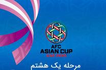 برنامه روز دوم مرحله یک هشتم نهایی جام ملت های آسیا