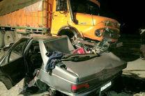 یک کشته و 2 مصدوم در تصادف پراید و کامیون در اصفهان