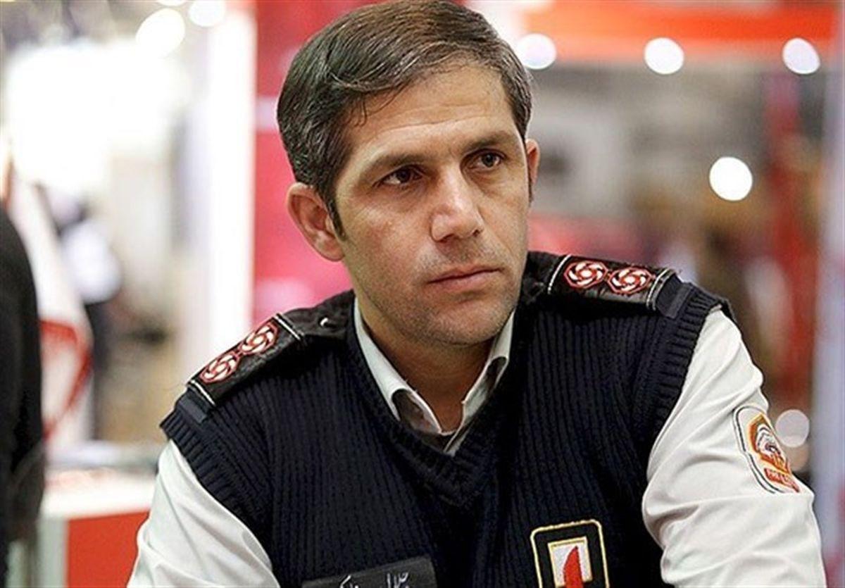 واژگونی بونکر حامل سیمان در بزرگراه مدرس تهران