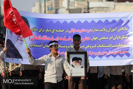 راهپیمایی مردمی در محکومیت حوادث روزهای اخیر در بندر عباس