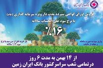 آغاز فروش اوراق گواهی سپرده سرمایه گذاری بانک ایران زمین با نرخ 16 درصد