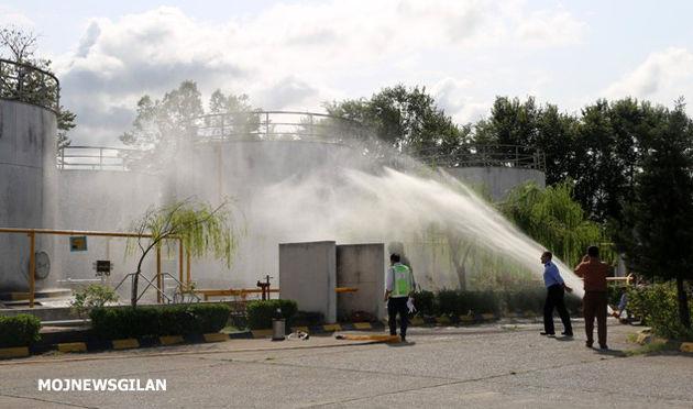 اجرای تمرین اطفاء حریق در مرکز سوختگیری هواپیمائی شهید اسدپور رشت