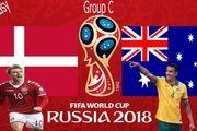 ساعت بازی استرالیا و دانمارک در جام جهانی