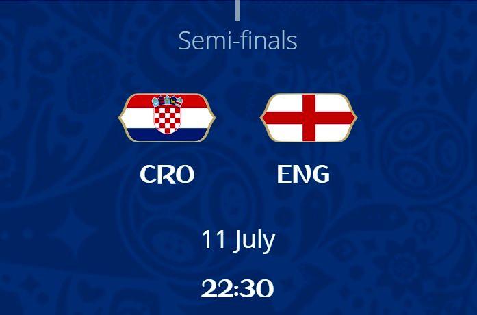ساعت بازی انگلیس و کرواسی در مرحله نیمه نهایی جام جهانی 2018