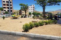 اجرای عملیات نهال کاری و احداث فضای سبز در بلوار 36 متری دگایران