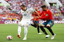 نتیجه دیدار دو تیم اسپانیا و روسیه در 90 دقیقه/تساوی بازی را  به وقت اضافه کشاند