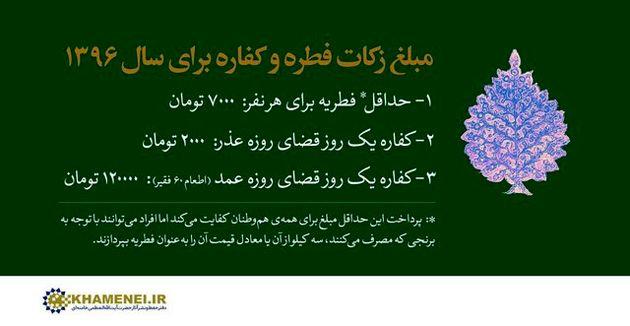 تعیین مبلغ زکات فطره سال ۱۳۹۶ براساس اعلام دفتر رهبری