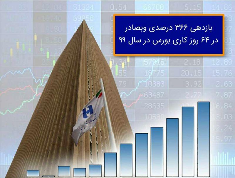 بازدهی ٣٦٦ درصدی وبصادر در ٦٤ روز کاری بورس در سال ٩٩