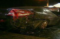 آتشگرفتن خودرو ریو در بزرگراه کردستان+تصاویر