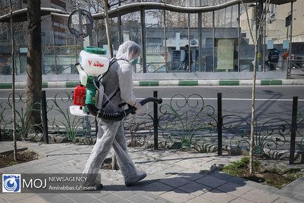 عملیات ضد عفونی و گند زدایی خیابان ولیعصر