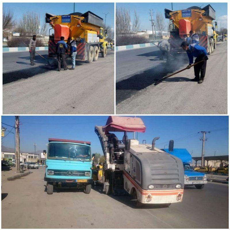 توزیع بیش از ۶۴۵۰تن آسفالت درمعابر شهرداری منطقه 3 همدان