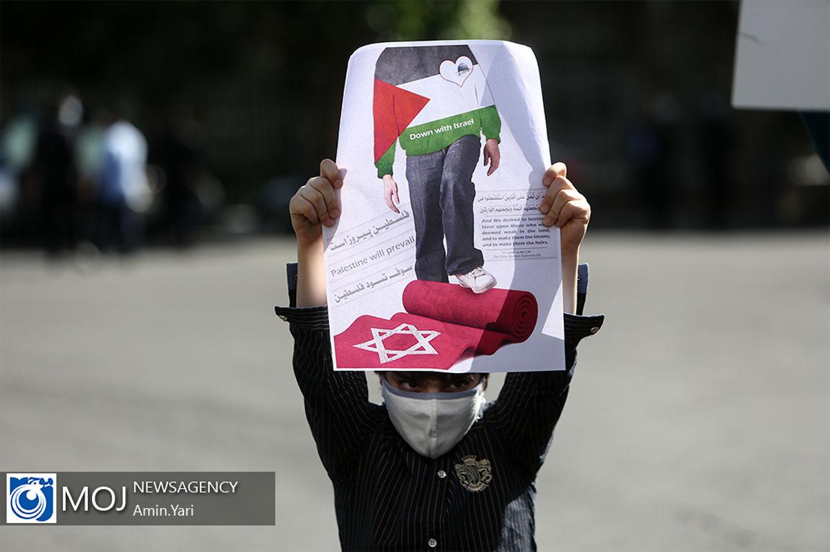 تجمع مردم تهران در حمایت از فلسطین با رعایت دستورات بهداشتی