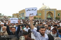 نمازگزاران نماز جمعه این هفته استان یزد با راهپیمایی، سخنان ترامپ درباره سپاه را محکوم کردند