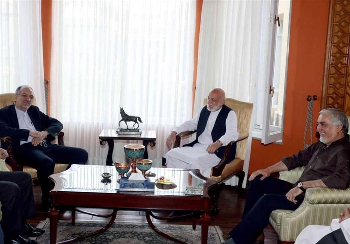 سفیر ایران با حامد کرزای و عبدالله عبدالله دیدار کرد